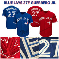 camisas de beisebol para homens venda por atacado-Vladimir Guerrero Jr. camisa de Jays azuis Toronto Jerseys de beisebol Navio livre Cool Base Flex Base de homens mulheres