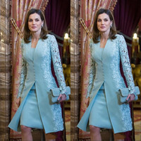 Wholesale elegant evening dresses jackets sleeves for sale - Group buy Elegant Outdoor Mother of Bride Dresses with Jacket Suits Short Two Piece Blue Long Sleeve Groom For Wedding Lace Arabic Evening Gowns