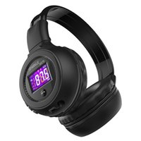 складное беспроводное радио для наушников оптовых-Фанатик B570 Bluetooth гарнитура Складная HiFi стерео Беспроводная LCD Bluetooth наушники с ЖК-экран FM-радио Micro-SD слот