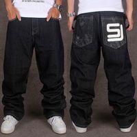 mens hip hop baggy jeans toptan satış-Toptan Jeans Mens Baghee Hip Hop Streetwear Denim Jeans Erkekler Gevşek İçin Sokak Dans Ve Skatebord Aplikler Artı boyutu 40 44 46