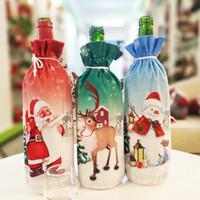 Wholesale wine bottle fabric covers resale online - Christmas Decoration Santa Claus Wine Bottle Cover Santa Claus Bottle Holder Bag Snowman Xmas Wine Bottle Decoration MMA2628