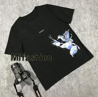avrupa çiçekleri toptan satış-2020 Yaz Lüks Avrupa Fransa Paris Mavi Kuş Çiçek Tişört Moda Erkekler Kadınlar Tişörtlü Casual Pamuk Tee Üst