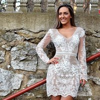 Wholesale hot stock shorts online - 2019 Short Sheath Long Sleeves V neck Lace Cocktail Wear In Stock Hot Sales High end Occasion Dress