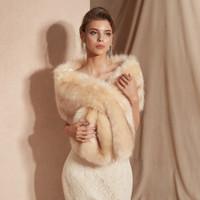 Wholesale champagne fur bolero resale online - Women Fur Capes Champagne Wedding Bolero Faux Fur Stole Bridal Jacket Formal Party Shrug Walk Beside You Cape De Mariage