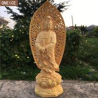 ingrosso statue di legno di buddha-2019 creativo in legno massello statua del Buddha scultura intagliato a mano mobili decorazione della casa accessori statua statua del Buddha loft dec
