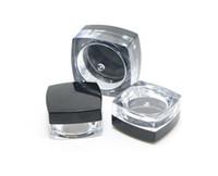 forma de unha quadrada venda por atacado-5Gram Plástico Frasco De Plástico Forma Clara Pote Preto Cap Cosméticos Amostra Sombra Lip Balm Recipiente de Unhas de Arte Do Pedaço de Glitter Garrafa SN2236