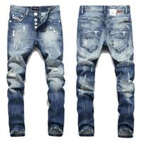горячие дизайнерские джинсы оптовых-2016 New Hot Sale Fashion Men Jeans Balplein Brand Straight Fit Ripped Jeans Italian Designer Distressed Denim Homme!A982