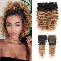 Wholesale ombre honey blonde bundles resale online - 1B Ombre Honey Blonde Deep Wave Hair Bundles with Closure Bundles With x4 Lace Closure Brazilian Remy Human Hair Extensions