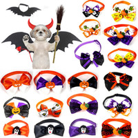 Wholesale ribbon dog collars for sale - Group buy Halloween Pet Bow Tie Pets Dogs Cats Pumpkin Ghost Witch Collar Bowknot Tie Holiday Halloween Grooming Pet Supplies