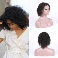 Wholesale short human hair wigs african american for sale - Malaysian Kinky Curly Human Hair Full Lace Wigs Glueless Lace Front Wigs Density African American Wigs Ping