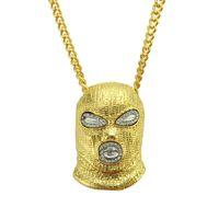 pingentes máscara venda por atacado-Hip Hop CSGO Pingente de Colar Dos Homens Estilo Punk Anti-Terrorismo fone de Ouvido 18 K Liga de Prata Banhado A Máscara de Cabeça De Ouro Prata E Preto