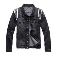 deri ceket yeni mens tarzı toptan satış-Yeni Fransa Stil Erkek Sıkıntılı Tahrip Deri BaseBall Stil Moto Biker Siyah Denim Ceket Boyutu M-4XL