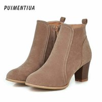botines damas fiesta al por mayor-Puimentiua 2019 Mujeres Botas Flock Tobillo Botas Primavera Otoño Mujeres Ladies Party Western Stretch Fabric Boot Plus tamaño 35-42