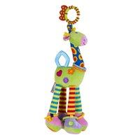 ingrosso carrelli giocattolo-2019 nuovo carino 37 centimetri giraffa bit giocattolo vendita calda a spirale letto ciondolo giocattolo animale di pezza