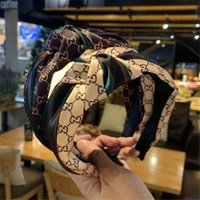 Wholesale stitching cards resale online - Red and green striped headband retro Korean web celebrity headband wide side hair card silk stitching western style knotted headband MFJ715