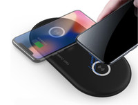 adaptador agregar al por mayor-2019 HOT ITEM Dual Pad cargador inalámbrico Xiaomi Samsung Iphone 10W Velocidad Agregar adaptador cargador rápido para IOS Android