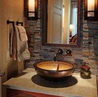 kunstbadezimmer sinkt großhandel-Rundes Einfallbecken mit Überlauf Waschbecken aus Kupfer Kupferwaschbecken Badezimmer Terrasse, Kunstterrasse, Toilette, Waschbecken, doppelter Überlauf
