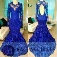 Wholesale gold mermaid jewelry online - Royal Blue Sheer Lace Appliques Ruched Mermaid Prom Dresses With Long Sleeves Sexy Open Back Illusion Bodice Jewelry Evening Dress