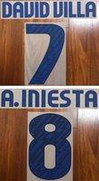 ingrosso lettere di plastica d'epoca-2010 squadra di club 2011 FCCB retrò stampa blu nameset DAVID VILLA A.INIESTA impressionato lettere stampate calcio adesivo da calcio d'epoca in plastica