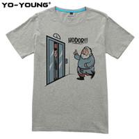 ingrosso maglia di neve jon-Game Of Thrones Hodor Jon Snow T-shirt da uomo Design divertente T-shirt per uomo Digital stampato 100% 180g cotone pettinato personalizzato