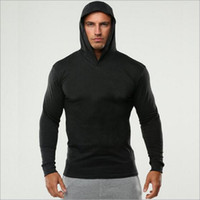 musculación fitness para hombre al por mayor-Mens Gym design Bodybuilding Hoodies Men Brand Fitness Ropa para hombre Algodón de manga larga Casual Sudaderas Muscle Hoody