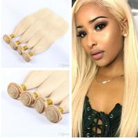 en iyi sarışın uzantılar toptan satış-8A Güzellik Düz Hint Sarışın # 613 Saç Uzatma 8-30 inç Toptan Bakire Saç Örgüleri 4 Demetleri Ücretsiz Nakliye Boyanabilir