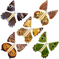 soporte de mariposa al por mayor-Soportes de metal Falso Mariposa Creativa Mosca mariposa Capullo En Mariposa Niños Lindo Partido de Juguete Accesorios Mágicos Moda Accesorios TTA733