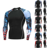 Wholesale clothing yoga tops resale online - 2 Piece Set Mens Sport Running Set Compression Top Pants Skin Tight Long Sleeves Fitness Training Clothes Gym Yoga Suits