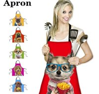Wholesale chef prints online – design 3D Dog Printed Apron Funny Cute Dog Apron Adult Party Chef Aprons Kitchen Cook Apron cm