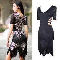 saias de dança zebra venda por atacado-Preto padrão de zebra vestido de dança latina mulheres sexy com decote em v fringe vestido de dança prática salsa senhoras saia flamengo dwy1925