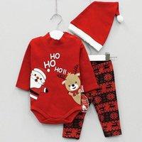 terno preto do romper do bebê venda por atacado-Bebê do Natal Papai Noel roupas romper dom + calça + chapéu 3piece um conjunto garoto roupas de algodão criança menino terno menina XMAS preto 0-24M vermelho