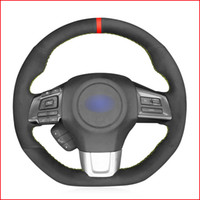 Black Suede Hand Sew Soft Wrap Car Steering Wheel Cover for Subaru WRX (STI) 2015-2019 Levorg 2015 2016 2017 2018 2019