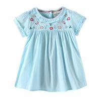 Wholesale boat charms for sale - New girl kids Clothes Elegant dress Round collar Short Sleeve Emboridery FlowerDesign girl kids Sky blue dress charming girl dress