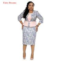 strickjacke kleid großhandel-Frauen 2-teilig mit Perlen verziert afrikanische Kleider und Mantel Anzug Afrikanischer Kleidung Dashiki Ankara Druck Cardigan Sommer-Bleistift-Kleid