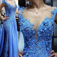 Wholesale crystal chiffon prom dress mermaid for sale - Group buy 2020 New Sexy Blue Mermaid Prom Dresses Jewel Neck Cap Sleeves Lace Appliques Crystal Beads Flowers Chiffon Formal Sheer Party Evening Gowns