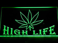 néon, sinal, alto, vida venda por atacado-403 Leaf High Life Bar Sinais de Luz de Néon LED com On / Off Switch 20 + Cores 5 Tamanhos para escolher
