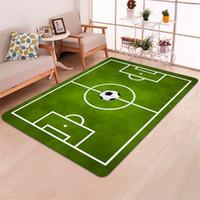 kinderbereich teppiche großhandel-Moderner Teppich 3D Fußball Teppiche Flanell Teppich Memory Foam Teppich Jungen Kinder Spielen Kriechmatte Große Teppiche für Zuhause Wohnzimmer Decke