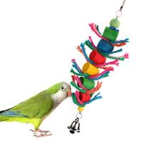 petits jouets en bois achat en gros de-Jouet en bois pour oiseau à suspendre perroquet Cage Cylindre Corde Jouet Pour Perroquet Hamster Petit Animal Produits Pour Animaux