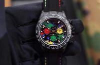 ingrosso orologi di superficie-DIW montre DE lusso cassa in fibra di carbonio fantasia a doppio lato superficie dell'obiettivo alta cinturino in pelle 7750 movimento di temporizzazione orologi orologi di design