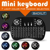 teclado inalámbrico de color al por mayor-Ratón inalámbrico 2.4G Fly Air Mouse para Android Tv Box Tableta Mini teclado Control remoto 7 cambio de color Teclado inalámbrico Air Mouse
