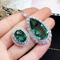 conjunto de jóias do brasil venda por atacado-MeiBaPJ Top Brilhando Natural Brasil Conjunto de Jóias de Cristal Verde Real 925 Sterling Silver Ring Necklace Fine Siut Wedding Jewelry