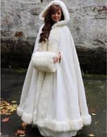 меховой накидной плащ оптовых-Белый / слоновая кость свадебная накидка для невесты с капюшоном из искусственного меха Теплая взрослая зима для зимних свадебных накидок / накидок / пончо