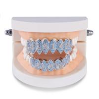 grades de dentes venda por atacado-Cor Prata Iced Out 1414 Ouro Grillz cristal da jóia acessórios Superior Inferior Grills Teeth Corpo Jóias Hip Hop Bling Cubic Zircon