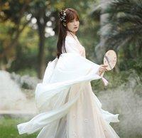 çin milli elbiseleri toptan satış-2019 Yeni Çin Geleneksel Peri Kostüm Antik Han Hanedanı Prenses Giyim Ulusal Kıyafet Sahne Elbise Halk Dans Kostüm Elbiseler