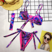 Wholesale new micro swimsuits resale online - Sexy Micro Bikini String Swimwear Women New Leopard Print Female Swimsuit Push Up Bikini Set Bandage Knot Bathers