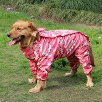 Wholesale panda clothes summer online - Camouflage Four Feet Dog Raincoat Panda Conjoined Pets Apparel Hooded Cap Doggy Clothes Wear Poodle Cover The Whole Body cc4b1