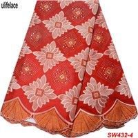 ingrosso merletto rosso voile-Tessuto di pizzo voile svizzero rosso 100% cotone di alta qualità Design Square Stones Merletto svizzero del voile in Svizzera W-432
