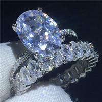 gümüş oval ring erkek toptan satış-Güzel yüzük Seti Oval kesim 3ct Elmas 925 Ayar gümüş Nişan düğün band yüzük kadın erkek için Lüks Takı Hediye