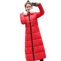 casacos de mulheres de moda de inverno coreano venda por atacado-Longo para baixo de algodão acolchoado das mulheres longo joelho moda mulher inverno 2018 novo Coreano das mulheres de algodão grosso casaco luz casaco maduro quente