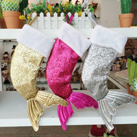 Wholesale tail sock for sale - Group buy Christmas Decorations Mermaid Stocking Gift Wrap Bags New Sequin Bead Flip Tail Socks Xmas Home Decor Colors DHL XD21059